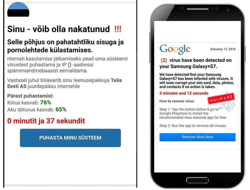 Распространяемый в телефонах вирус.  Автор фото: Politseinik Maarja Punak