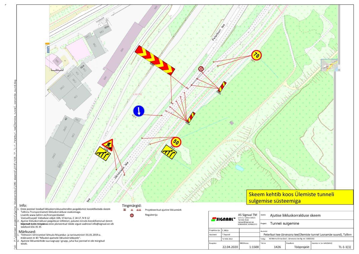 Схема закрытия туннеля. Автор/источник фото: Таллинский Транспортный департамент.